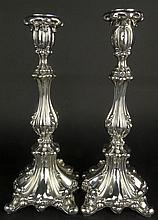 Pair of 19th Century Russian Richard Muller circa 1880 Candlesticks. Hallmarked. Surface Wear and Minor Dents from Normal Use, One Bobeche a bit crunched Otherwise Good Condition or Better. Measure 13-7/8 Inches Tall and 5-1/8 Inches Wide. Approx.