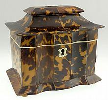 19th Century English Tortoiseshell, Silver and Ivory Tea Caddy. Unsigned. Small Loss to Tortoiseshell, Good Antique Condition. Measures 5-3/8 Inches Tall and 5-5/8 Inches Wide. This item will only be shipped domestically and was legally imported into