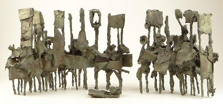 Maja van Hall, Dutch (b. 1937) Two (2) Piece Abstract Bronze Sculpture