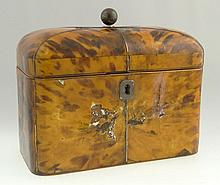 19th Century English Tortoiseshell, Silver and Ivory Tea Caddy. Unsigned. Losses and Cracks to Tortoiseshell, Fair Antique Condition. Measures 5-5/8 Inches Tall and 6-5/8 Inches Wide. This item will only be shipped domestically and was legally