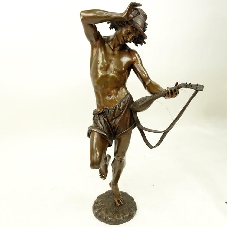 Albert Ernest Carrier-Belle use (FRENCH, 1824-1887) 'Le Danseur Napolitain au Luth' Bronze Sculpture.