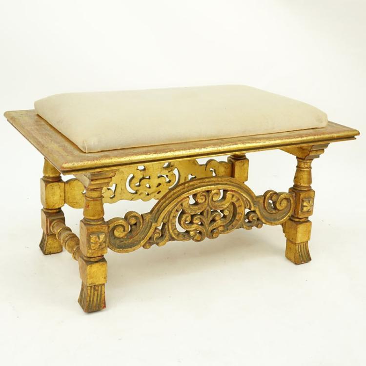 Vintage carved gilt wood bench