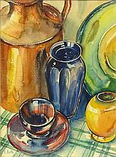 Louis Betts, American (1873-1961) Watercolor on Paper, Still Life with Blue Vase. Signed Lower Left. Toning to Paper Otherwise Good Condition. Measures 17-3/4 Inches Tall and 13 Inches Wide (sight), Frame Measures 24-1/4 Inches Tall and 20-1/4 Inches