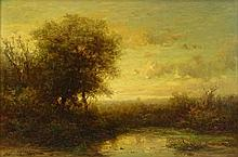 Possibly Aleksandr Aleksandrovich Kiselev, Russian (1838-1911) Oil on Canvas, Landscape. Signed Lower Left. Craquelure Otherwise Good Condition. Measures 12-1/2 Inches Tall and 18-1/2 Inches Wide, Frame Measures 18 Inches Tall and 24 Inches Wide.