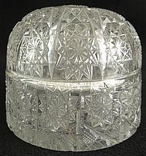 Antique American Brilliant Cut Glass Dome Box. Unsigned. Minor Chip to Interior Rim and to Rim of Top Otherwise Good Condition or Better. Measures 4-1/2 Inches Tall and 5-3/4 Inches Wide at Base. Shipping $44.00