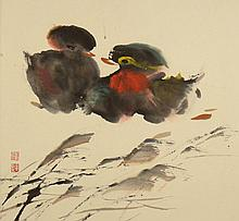 20th Century Chinese School Ink and Color on Paper Untitled. Signed. Creasing or else Good Condition. The Gallery Has Been Advised Provenance: ex-Shepps Collection, Donated to and Being Sold to Benefit Ann Norton Sculpture Gardens/Museum, West Palm