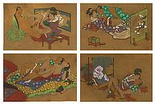 Set of Four (4) Erotic 19/20th Century Japanese Shunga Mixed Media on Woven Linen Paintings. Unsigned. Provenance: ex Collection Charles Martignette, Florida. His Collection was Featured in the French Edition of Playboy, February, 1982 as well as the