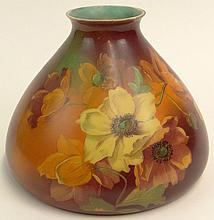 Early 20th Century Handpainted Cased Glass Lampshade with Floral Motif. Signed on Inside Rim of Outer Shade Q-248. Very Good Condition. Measures 8 Inches Tall, 10-1/2 Inches Diameter and the Smaller Open End Measures 3-5/8 Inches at the Rim. Shipping