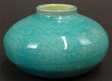 Chinese Kangxi Period (1662-1722) Turquoise Crackled Glazed Porcelain Squat Vase. Unsigned. Good to Very Good Condition. Measures 2-3/8 Inches Tall and 3-3/4 Inches Diameter. Shipping $36.00