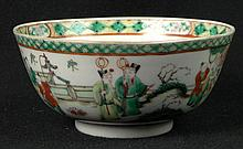 Chinese Kangxi style Famille Verte Porcelain Bowl with Bat and Dragon Decoration to Interior. Blue Concentric Rings to Base Otherwise Unsigned. Good Condition or Better. Measures 2-3/4 Inches Tall and 6 Inches Diameter. Shipping $38.00