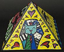Romero Britto Brazilian-American-Florida (born1965-) Circa 2008 Hand painted Poly Resin Collectible Pyramid
