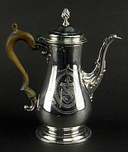 18th Century George III Baluster English Silver Coffee Pot. Scalloped Spout With Beaded Rat-Tail, Urn Finial to Domed Cover. One Side With a Crest