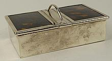 20th C English Silver and Tortoise Box. Features 2 wood lined compartments. Signed with London Hallmarks: London, 1927, Mappin & Webb. Good Condition. Measures 1-3/4 Inches Tall,6-1/4 Inches Length, 3-3/4 Inches Width. We Will Not Ship This Item Out