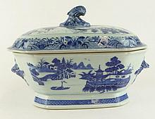 Antique Chinese Export Porcelain Blue and White Covered Entrée Dish. Unsigned. Hairline Crack on Lid. Measures 9 Inches Tall, 11-3/8 Inches Length, 8-1/2 Inches Width. Shipping $89.00