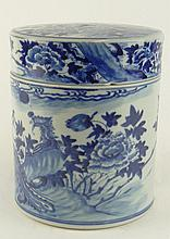 Antique Chinese Porcelain Large Round Covered Box. Busy Blue & White Phoenix Motif. Unsigned. Chips on Interior Rim and Lid. Measures 7-3/4 Inches Tall, 6-1/2 Inches Diameter. Shipping $79.00
