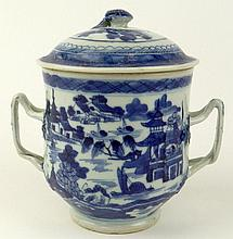 Antique Chinese Canton Porcelain Handled Covered Jar. Blue & White Village Motif. Unsigned. Good Condition. Measures 6-1/2 Inches Tall, 6-1/2 Inches Wide. Shipping $42.00