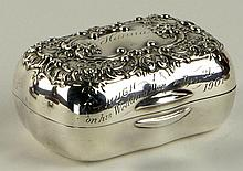 Antique Gorham Sterling Silver Trinket Box. Nice Repoussé Design with Engraving: Hanna, 'Hugh on His Wedding Day, Dec 31, 1901' Signed: Theodore B. Starr New York, Gorham Logo Sterling. A few Tiny Dings or in otherwise Good Condition. Measures 1-1/2