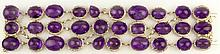 Ladies Exquisite Approx. 275.0 Carat Cabochon Round, Oval, Tear Drop and Rectangular Cut Amethyst, approx. 6.0 Carat Round Brilliant Cut Diamond and 18 Karat Yellow Gold Three Row Bracelet. Amethysts with Vivid Saturation of Color, VS Clarity.