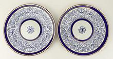 Pair of Royal Worcester Blue & White Chinese Inspired Porcelain Plates. Signed on Bottom with Blue Back Stamp Underglaze. Minor rubbing to edges or in otherwise Good Condition. Measures 9-1/4 Inches Diameter. Shipping $32.00