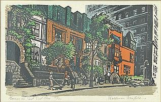 """Woldemar Neufeld Russian-American-New York (1909-2002) Limited Edition Color Linocut """"Houses on East End Ave"""" Circa 1948. Pencil Signed Lower Right Titled Lower Left and Limited Edition 43/50. Good to Very Good Condition. Measures 8 Inches by 12-7/8"""