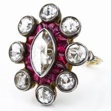 Antique Approx. 3.50 Carat Rose Cut Diamond, 2.0 Carat Calibre Cut Rubies and 18 Karat Yellow Gold Ring.