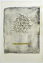 """Claire Falkenstein, American (1908-1998) Hand-colored collograph on Fabriano paper """"Two Rings"""""""