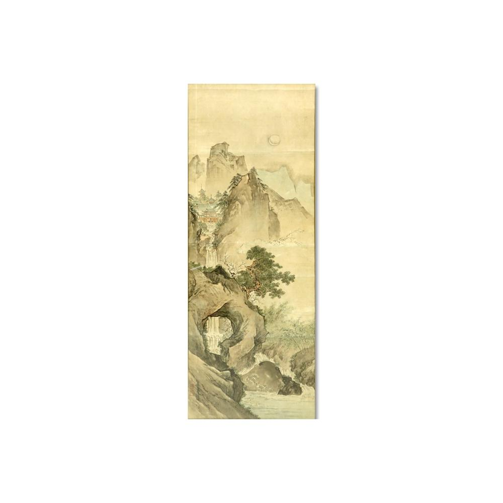Antique Japanese Scroll: Large Antique Japanese Watercolor Scroll Painting, Landscape