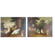 Pair of 20th C. European School Oil on Canvas