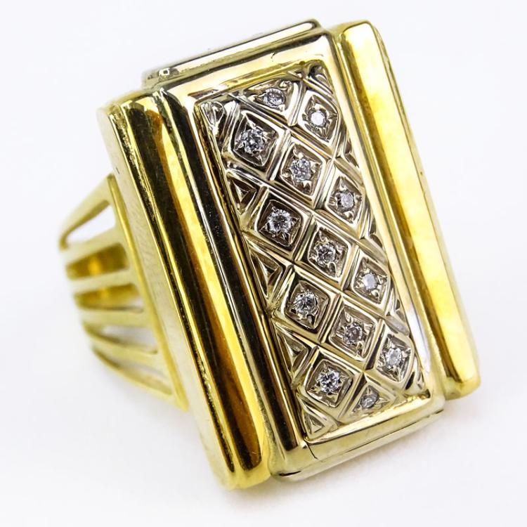 Gold Italy Platinum: Vintage Italian 18 Karat Yellow Gold, Platinum And Diamond R