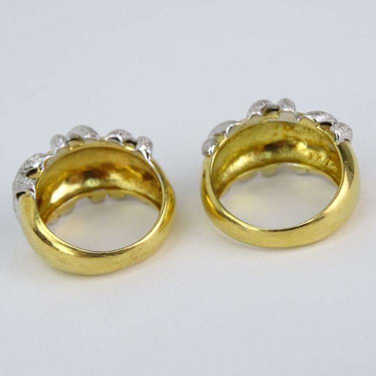 two 2 vintage italian 18 karat yellow and white gold rings