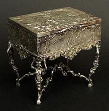 1901 Chester England Sterling Silver Jewelry Box on Stand. Hallmarks are Confusing Date 1901. Signed with a Series of Hallmarks and Additional Hallarks. Good to Very Good Condition. Measures 4-5/8 Inches Tall and 5 Inches Long. Weighs 13.024 Troy