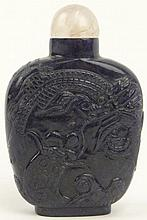 Chinese 19th Century Carved Lapis Snuff Bottle Dragon Chasing the Golden Pearl with Rose Quatrz Stopper. From the Collection of a Founding Member of the International Chinese Snuff Bottle Society. Unsigned. Rubbing, Good to Very Good Condition.