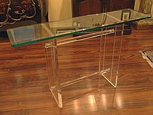 Mid Century Lucite and Glass Console Table. Very Nice Size and Design. Polished Bevel Glass Top above a Double Pedestal Lucite Base with Two (2) Cylindrical Cross Stretchers. Surface Wear Consistent with Age and Use Otherwise in Very Good Condition.