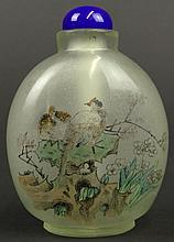 19/20th Century Chinese Inside Painted Glass Snuff Bottle with Blue Color Stopper. Unsigned. Good to Very Good Condition. From the Collection of a Founding Member of the International Chinese Snuff Bottle Society. Measures 3 Inches by 2-1/4 Inches