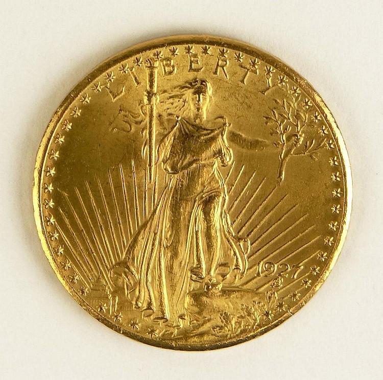 1927 St. Gaudens American Twenty Dollar Gold Coin. Good Condition. Domestic Shipping $12.00