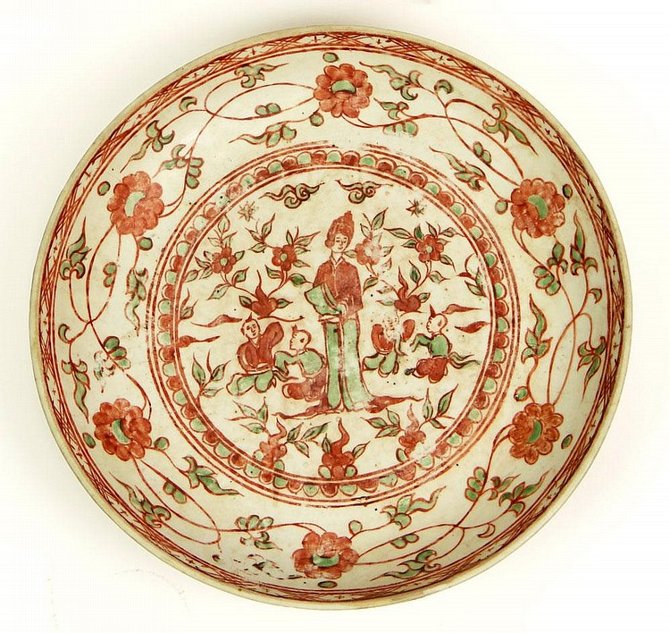 Chinese Ming Dynasty (1368-1644) Copper Red and Green Glazed Porcelain Dish. Unsigned. Very Good Condition or Better. Measures 2-1/8 Inches Tall and 12-1/4 Inches Diameter. Has Fitted Box. Provenance: Christies New York, October 1, 2009 Sale #2202