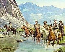 """Sol Korby, America (born 1923) Illustration Oil on Artist Board """"Cowboys Crossing the River"""". Signed Upper Left. Good Condition or Better. Measures 24-5/8 Inches Tall and 31 Inches Wide, Frame Measures 29-1/4 Inches Tall and 35-1/4 Inches Wide."""