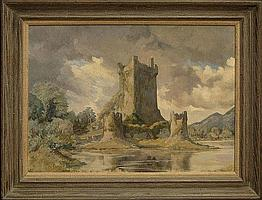 """Desmond Kenny Irish (born1956-) Oil on Canvas """"Castle Ruins"""". Signed Lower Left. Good to Very Good Condition. Measures 20-3/4 Inches Tall and 27-1/2 Inches Wide, Frame Measures 25 Inches Tall and 31-5/8 Inches Wide. Shipping $145.00"""