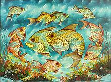 """Madsen Mompremier, Haitian (1952) Oil on Board """"Reef Fish"""" Signed Lower Left M. Mompremier. Good Condition. Measures 11-1/2 Inches by 15 Inches. Frame Measures 13-1/2 Inches by 17 Inches. Shipping $65.00"""