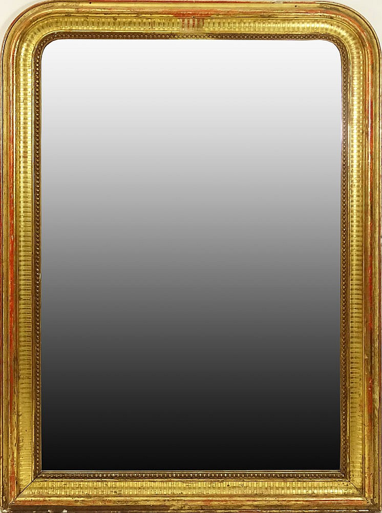 large antique gilt wood framed mirror wear and small losses