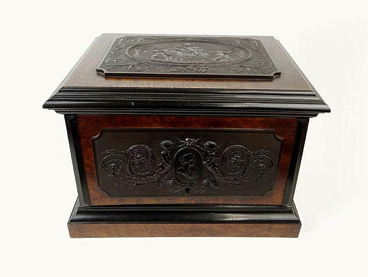 19th Century French Napoleon III (1852-1871) Burl Walnut Tantalus Box with Applied Carved Ebony Bas Relief Panels with Neo-Classical Scenes and a Portrait Medallion Depicting the Empress Eugenie and a Rosewood Interior. Unsigned. Lacking Key, Two