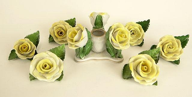 Six (6) Vintage Herend Porcelain Yellow Rose Place Card Holders Together with Matching Flower Frog. Signed Blue Backstamp and Incised Herend and Numerals. A Few Chips and Losses or else Good Condition. The Place Card Holders Measure 2 Inches Tall and