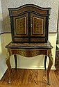 19/20th Century French Two Part Bronze Mounted Boulle style Secretaire. Unsigned. Rubbing, Losses and Repairs Throughout Please Examine this Lot Carefully Before Bidding. Measures 56 Inches Tall, 32 Inches Wide and 21-1/2 Inches Deep. We will not