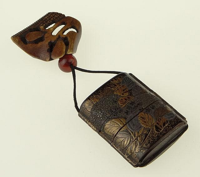 19th Century Japanese Stippled Lacquer Inro with Gilt Decoration, Amber Ojime Bead and Bone Netsuke. Unsigned. Good to Very Good Condition. Inro Measures 2-5/8 Inches Long and 2-1/8 Inches Wide. Shipping $20.00