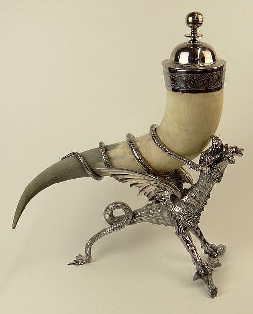 Contemporary Cast and Chased Nickel Silver Winged Dragon Mounted Horn Sculpture/Cup. Signed Braese, Hallmarked and Nickel Silver (NS). Good Condition or Better. Measures 21 Inches Tall and 18-1/2 Inches Wide. Shipping $125.00