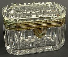 19/20th Century Quality Crystal and Bronze Mounted Vanity Box with Lock (sans key) Unsigned. Some Verdigris Patina and Needing a Pin for Hinge or else Good Condition or Better. Measures 4-5/8 Inches Tall, 4-5/8 Inches Wide and almost 3-3/4 Inches