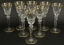 Eight (8) French St. Louis Cut Crystal Burgundy Wine Goblets in the Excellence (gold trim) Pattern. Etched Signature to Base. Very Good Condition. Measure 8-3/4 Inches Tall and 3-1/4 Inches Wide at Rim. Shipping $80.00