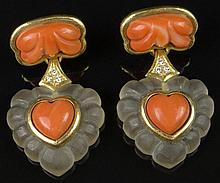 Vintage Pair of Lady's 18 Karat Yellow Gold, Carved Coral, Carved Rock Crystal and Round Brilliant Cut Diamond Drop Earrings. Unsigned. Surface Wear from Normal Use Otherwise Good Condition. Measure 1-5/8 Inches Long and 1 Inch Wide. Approx. Weight: