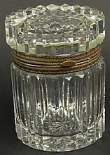 Oversized Late 19th Century or Early 20th Century Vertically Ribbed Crystal and Bronze Mounted Vanity Box. Unsigned. Good to Very Good Condition. Measures 5-3/4 Inches Tall, 10 Inches Wide, and 4-1/4 Inches Depth. Shipping $40.00