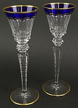 Pair of St. Louis Cut Crystal Goblets in the Excellence (gold trim blue) Pattern. Etched Signature to Base. Very Good Condition. Measure 10-1/4 Inches Tall and 3-3/8 Inches Wide at Rim. Shipping $30.00